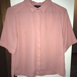 Pink Women's Button Up Blouse